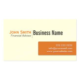 Orange Label Financial Advisor Business Card