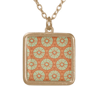 Orange Lace Circles Gold Plated Necklace