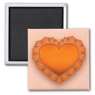 Orange Lace Heart 2 Inch Square Magnet