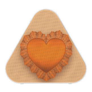 Orange Lace Heart Customizable Speaker