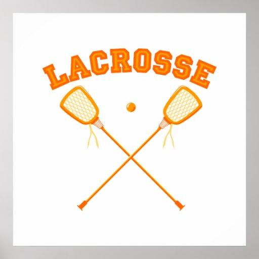 Orange Lacrosse Logo Print