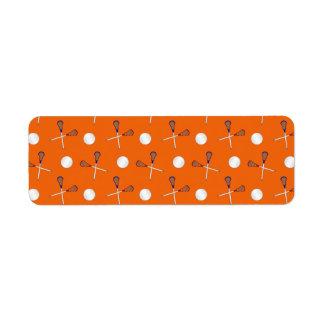 Orange lacrosse pattern return address labels