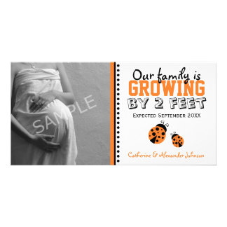 Orange Ladybugs Pregnancy Announcement Photo Card