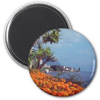 Orange Lake Geneva, Montreux, Switzerland flowers 2 Inch Round Magnet