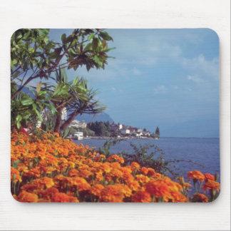 Orange Lake Geneva, Montreux, Switzerland flowers Mouse Pad