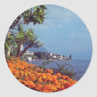 Orange Lake Geneva, Montreux, Switzerland flowers Sticker