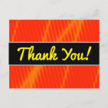 [ Thumbnail: Orange Laser Beam Look Lines On a Red Background Postcard ]