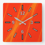 [ Thumbnail: Orange Laser Beam Look Lines On a Red Background Square Wall Clock ]