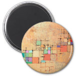 Orange Lattice Abstract Painting Magnet Magnets