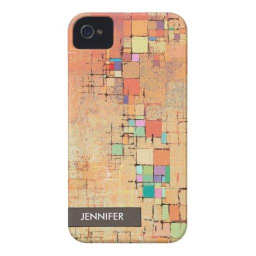 Orange Lattice Harmony Abstract Art iPhone 4 Case
