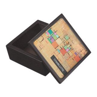 Orange Lattice Harmony Abstract Art Trinket Box Premium Keepsake Box