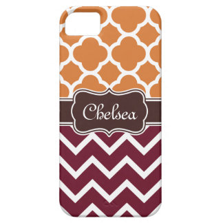 Orange Lattice Maroon Chevron Patterns Brown Name iPhone 5 Cover