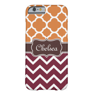 Orange Lattice Maroon Chevron Patterns Brown Name Barely There iPhone 6 Case