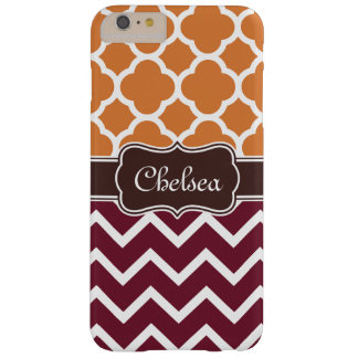 Orange Lattice Maroon Chevron Patterns Brown Name Barely There iPhone 6 Plus Case