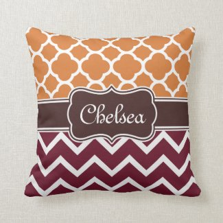 Orange Lattice Maroon Chevron Patterns Brown Name Throw Pillow