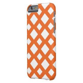Orange Lattice on White Barely There iPhone 6 Case
