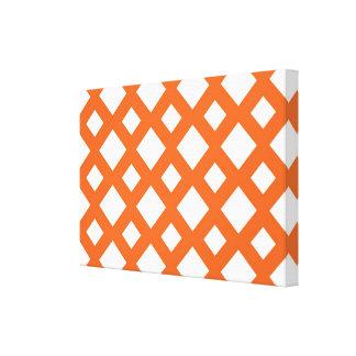 Orange Lattice on White Stretched Canvas Print