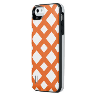 Orange Lattice on White iPhone SE/5/5s Battery Case