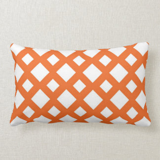 Orange Lattice on White Lumbar Pillow