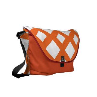 Orange Lattice on White Messenger Bag