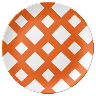 Orange Lattice on White Porcelain Plate