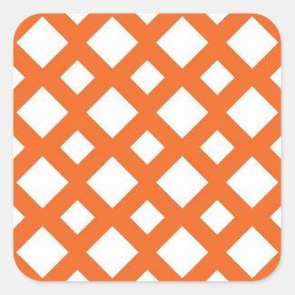 Orange Lattice on White Square Sticker