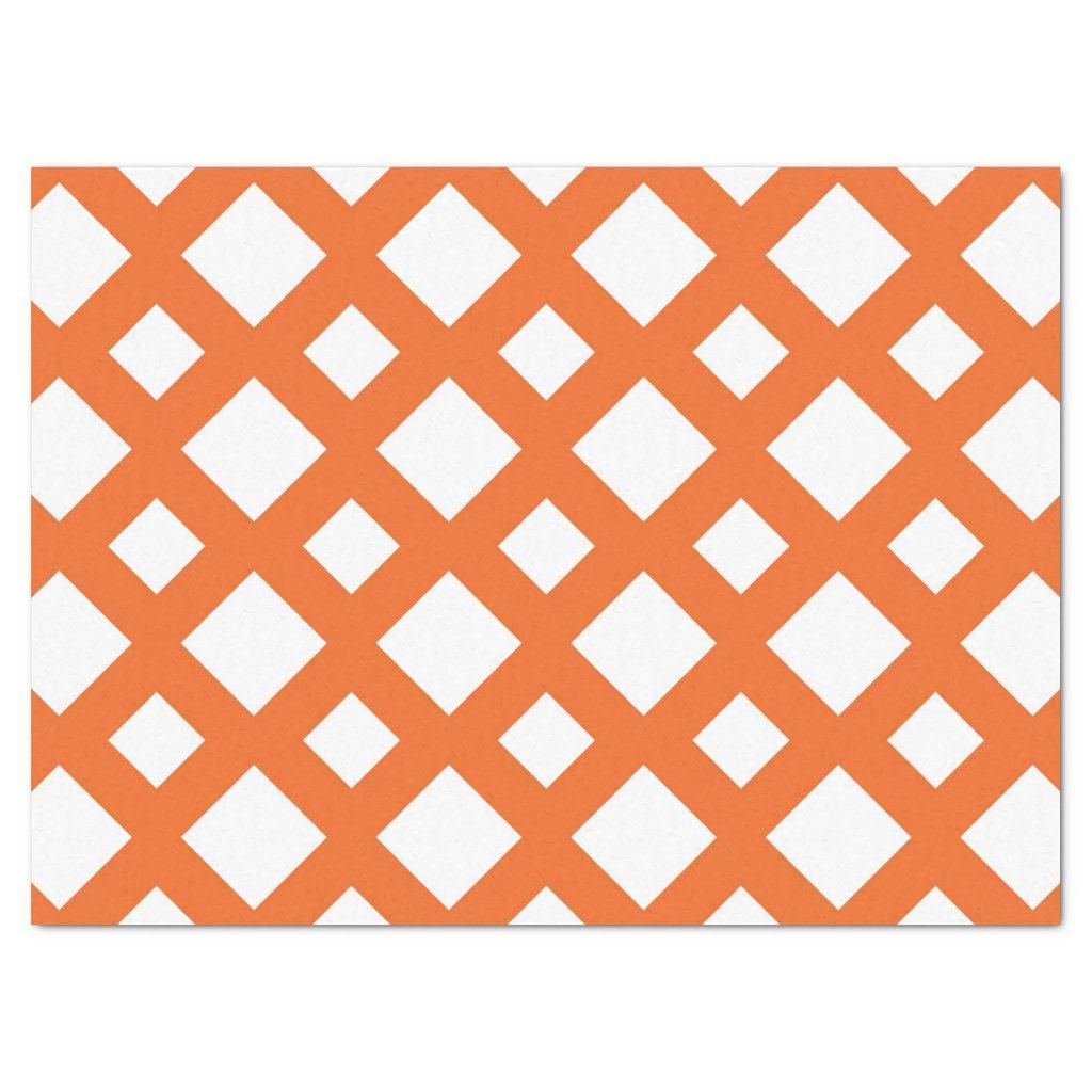 Orange Lattice on White Tissue Paper