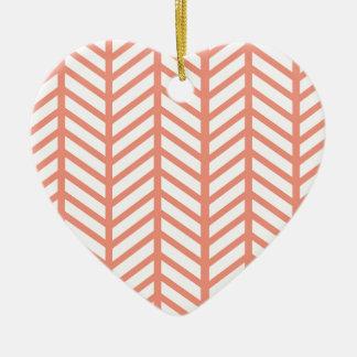 Orange Lattice Weave Ceramic Ornament