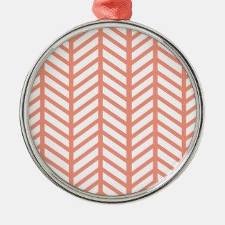 Orange Lattice Weave Metal Ornament