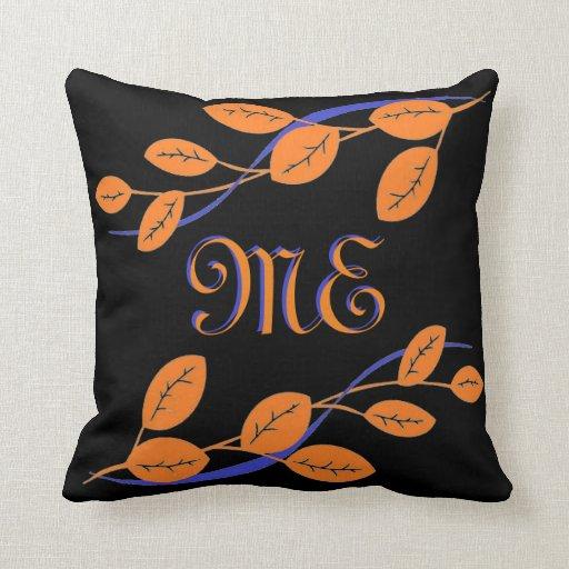 Orange Leaf Design With Custom Monogram Throw Pillow Zazzle