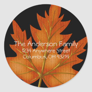 Orange Leaf Fall Season - Return Address Labels