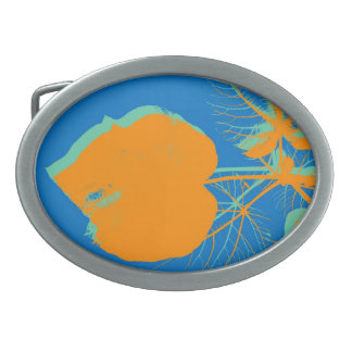 Orange Leaf on Blue Painting Abstract Art Belt Buckle
