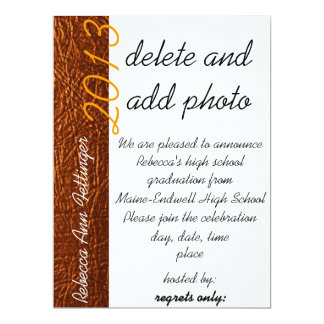 orange leather graduation invitations