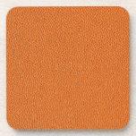 Orange Leather Look Beverage Coaster