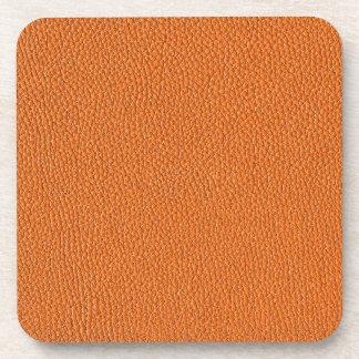Orange Leather Look Drink Coaster