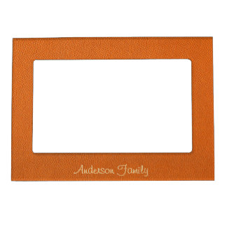 Orange Leather Look Magnetic Photo Frame