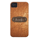 Orange Leather Look personalized iPhone 4/4s iPhone 4 Covers