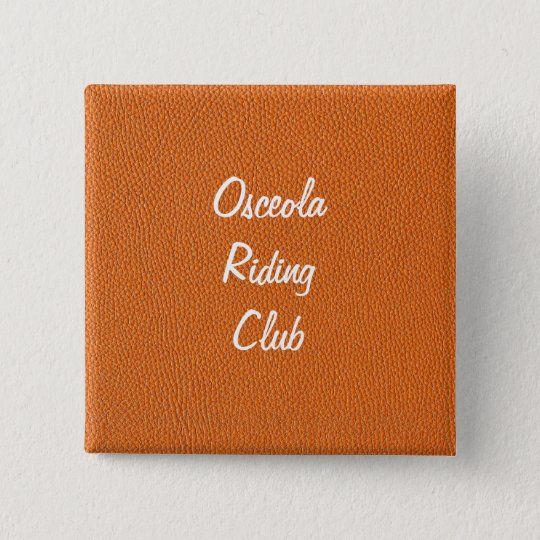Orange Leather Look Pinback Button