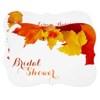 Orange Leaves Autumn Bridal Shower Invitations