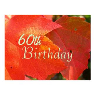Orange Leaves Birthday Invitation Postcard