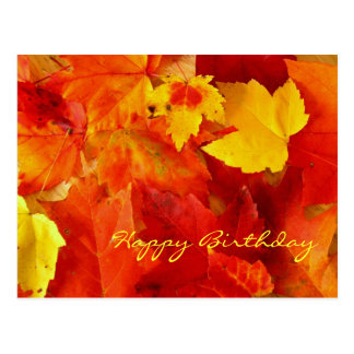 Orange Leaves Birthday Postcard
