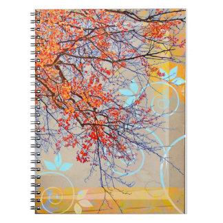 Orange leaves, grunge design spiral notebook