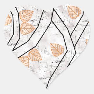 orange leaves heart sticker