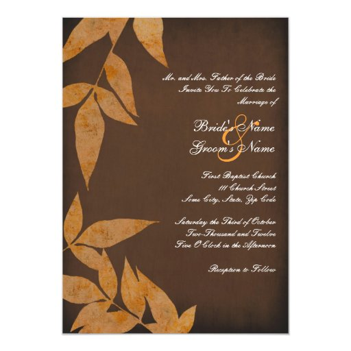 Orange Leaves Vintage Wedding Invitations