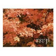 Orange Leaves Wedding RSVP Response Postcard