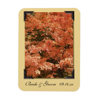 Orange Leaves Wedding Save the Date Magnet