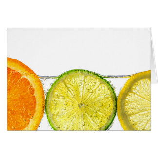 Orange lemon and lime slices in water cards