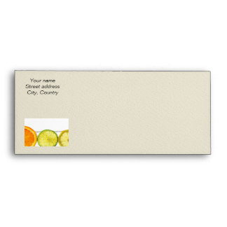 Orange lemon and lime slices in water envelope