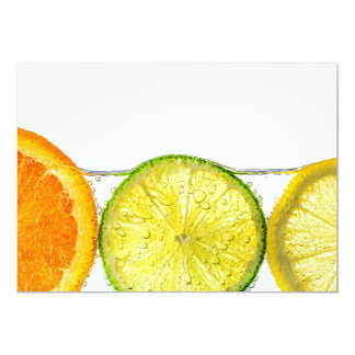 Orange lemon and lime slices in water announcement