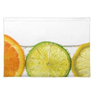 Orange lemon and lime slices in water cloth placemat